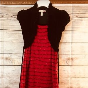 EGUC Red Sequin Dress with Black Blazer